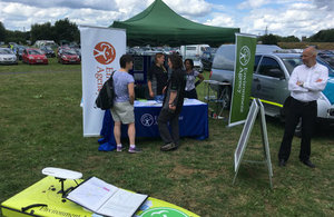 Environment Agency staff talking to members of the public