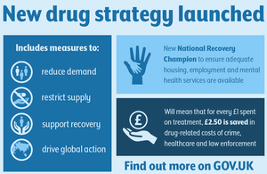 Graphic announcing the launch of the new drug strategy