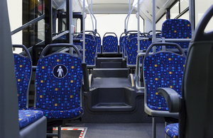 Inside an empty bus