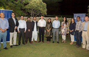 Acting British High Commissioner, Mr Richard Crowder, with members of the Chevening Alumni and senior officials from the British High Commission, Islamabad.