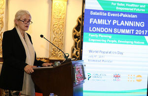 DFID Deputy Head, Judith Herbertson speaking at the Satellite Event in Islamabad-Family Planning Summit London.