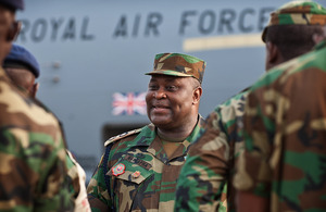Lieutenant Colonel Mustapha of the Ghanaian Army talks to his first group of soldiers prior to their departure for Mali on an RAF 99 Squadron C-17 aircraft [Picture: Sergeant Ralph Merry RAF, Crown Copyright/MOD 2013]