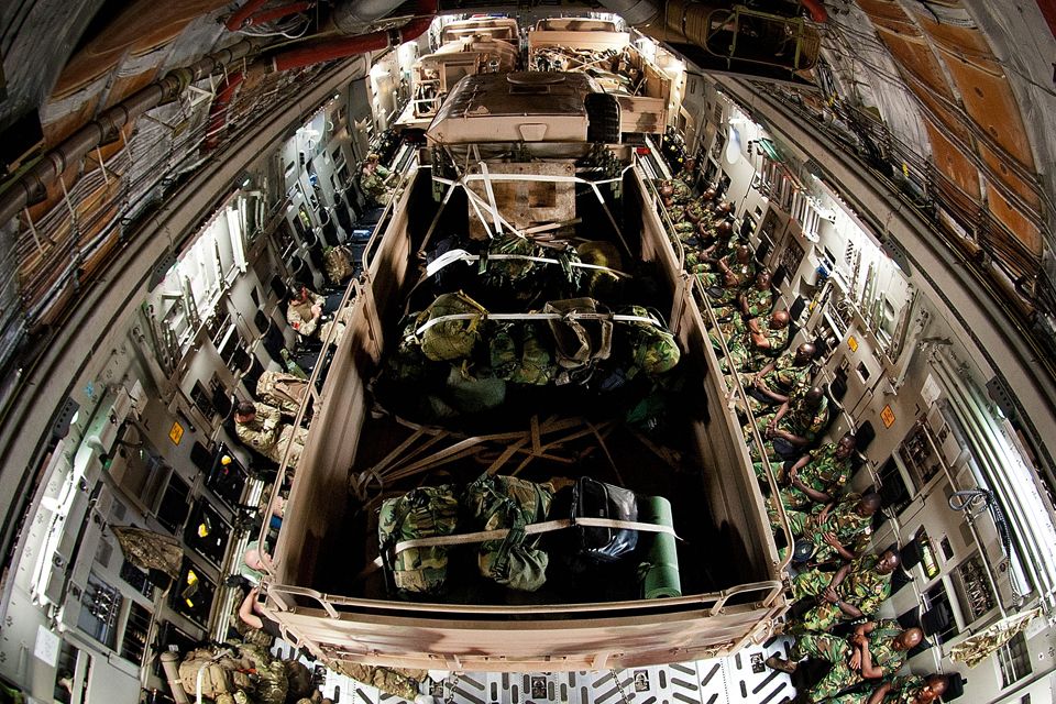 A fully loaded RAF 99 Squadron C-17 aircraft