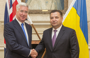 Secretary of State for Defence Sir Michael Fallon meets Ukraine Defence Minister, Stepan Poltorak at the Ministry of Defence in London.