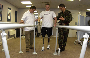 An injured serviceman receiving physiotherapy treatment at the Headley Court Defence Medical Rehabilitation Centre (stock image) [Picture: Petty Officer Airman (Photographer) Flo Foord, Crown Copyright/MOD 2008]