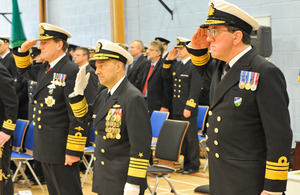Handover ceremony at NATO Maritime Headquarters in Northwood - from left: Admiral Sir George Zambellas, Admiral Jim Stavridis and Vice Admiral Peter Hudson [Picture: Crown Copyright/MOD 2013]