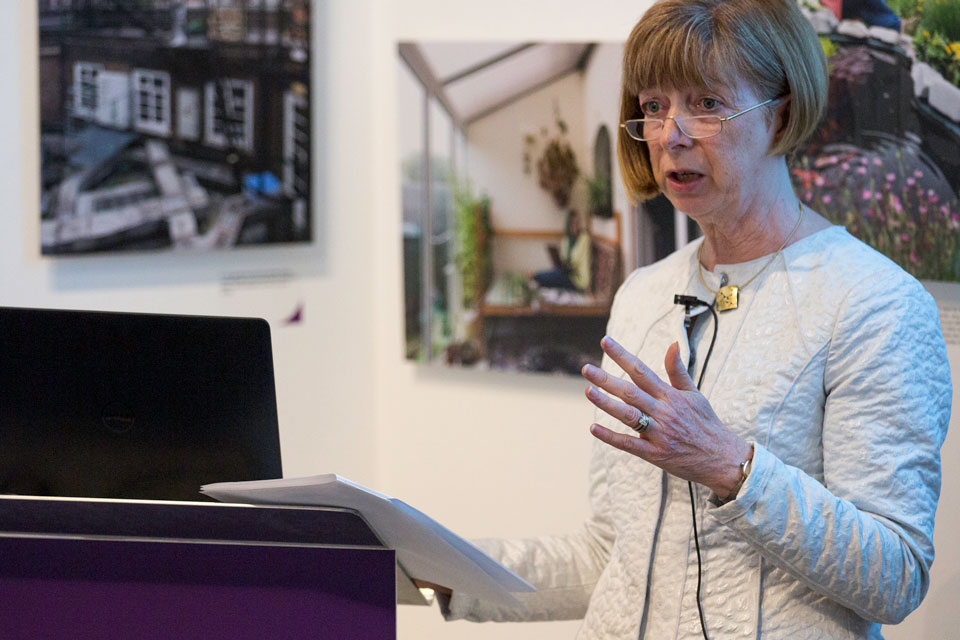 Dr Ruth McKernan, Innovate UK chief executive, at the launch of the Amelia Troubridge exhibition.