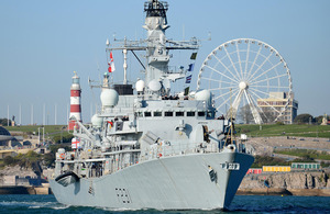 HMS Argyll sails past Plymouth Hoe [Picture: Leading Airman (Photographer) Joel Rouse, Crown Copyright/MOD 2013]