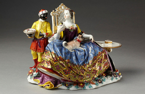 One of three Meissen figures formerly in the possession of the V&A which were returned to the heirs of the original owner following referral to the Spoliation Advisory Panel.