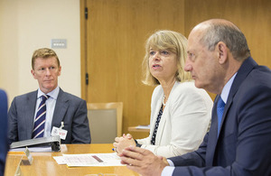 Minister Harriett Baldwin with Panel members Major Tim Peake and Ron Dennis. Crown Copyright
