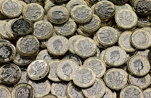 Photo of new £1 coins