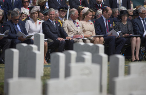 Members of the British and Belgian Royal families join senior politicians and military personnel at Tyne Cot