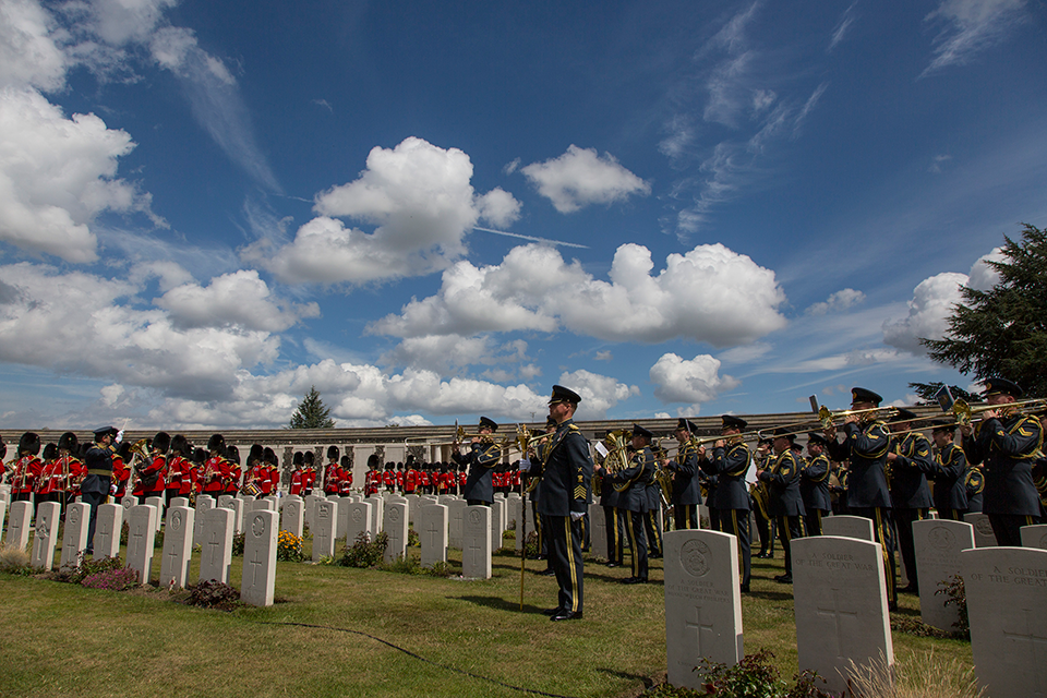 The Band of the Welsh Guards and the Central Band of the RAF at the Tyne Cot Cemetery