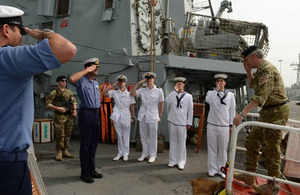 Commodore Simon Ancona, United Kingdom Maritime Component Commander, arrives onboard HMS Northumberland in Bahrain [Picture: Leading Airman (Photographer) Maxine Davies, Crown copyright]