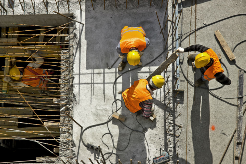 Aerial view of construction workers on site