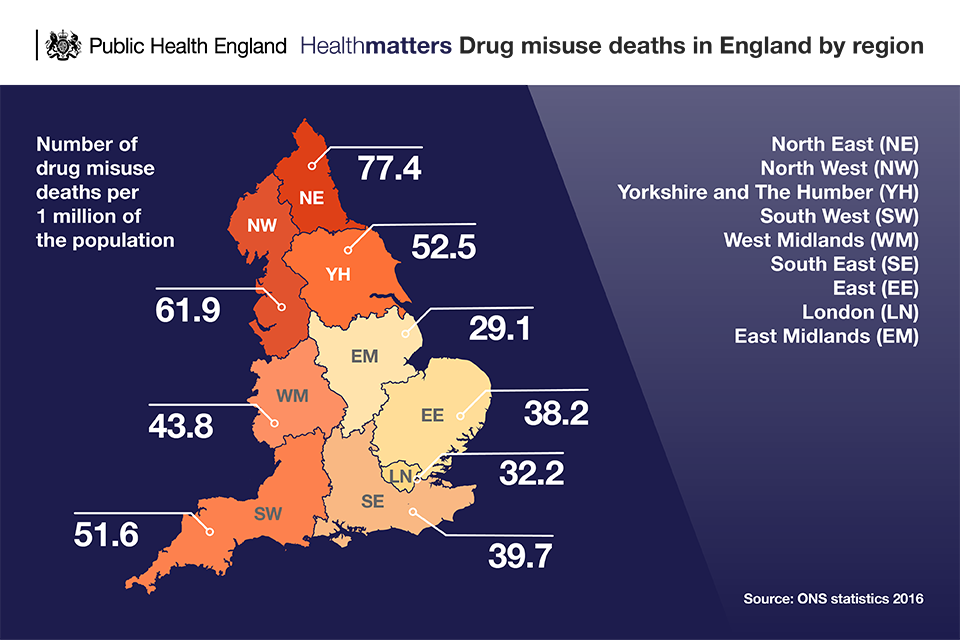 Infographic of drug misuse deaths in England by region