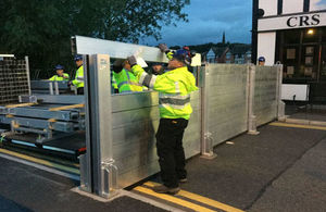 Demountable flood defences were used in Northwich town centre exercise
