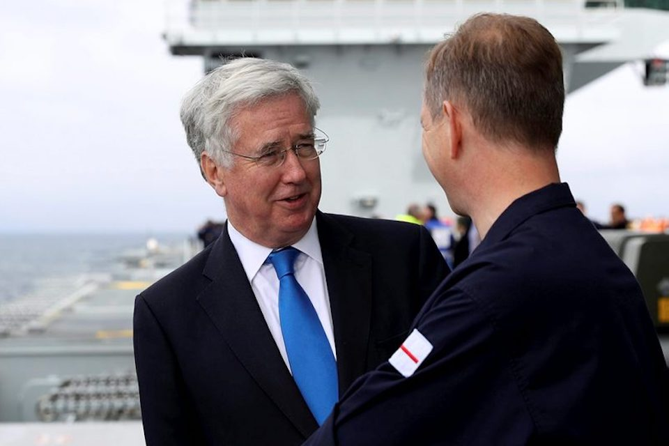 The Defence Secretary Sir Michael Fallon visited HMS Queen Elizabeth during sea trials last month.