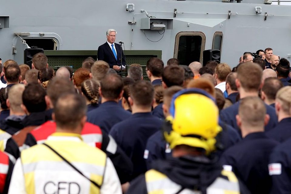 The Defence Secretary addressed the Royal Navy crew and industry personnel on the deck of the new aircraft carrier last month.