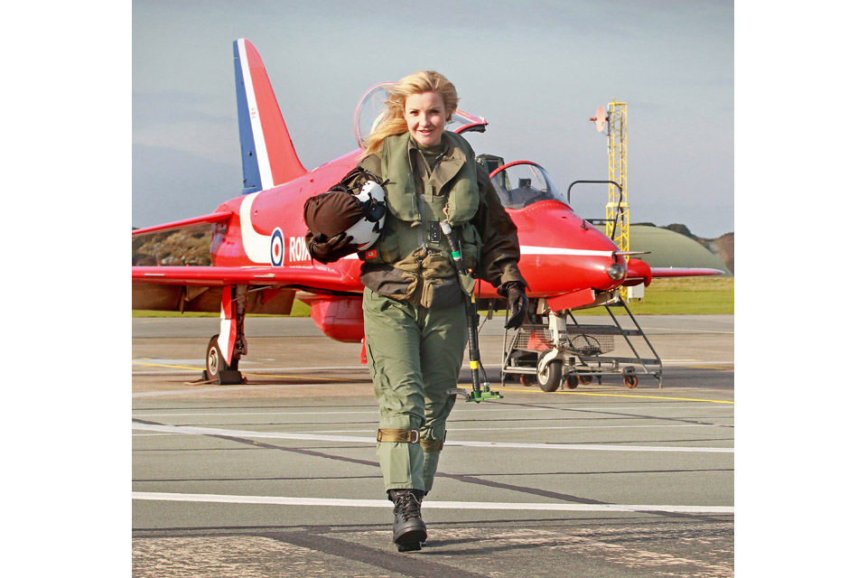 Helen Skelton after her flight in a Red Arrow Hawk jet