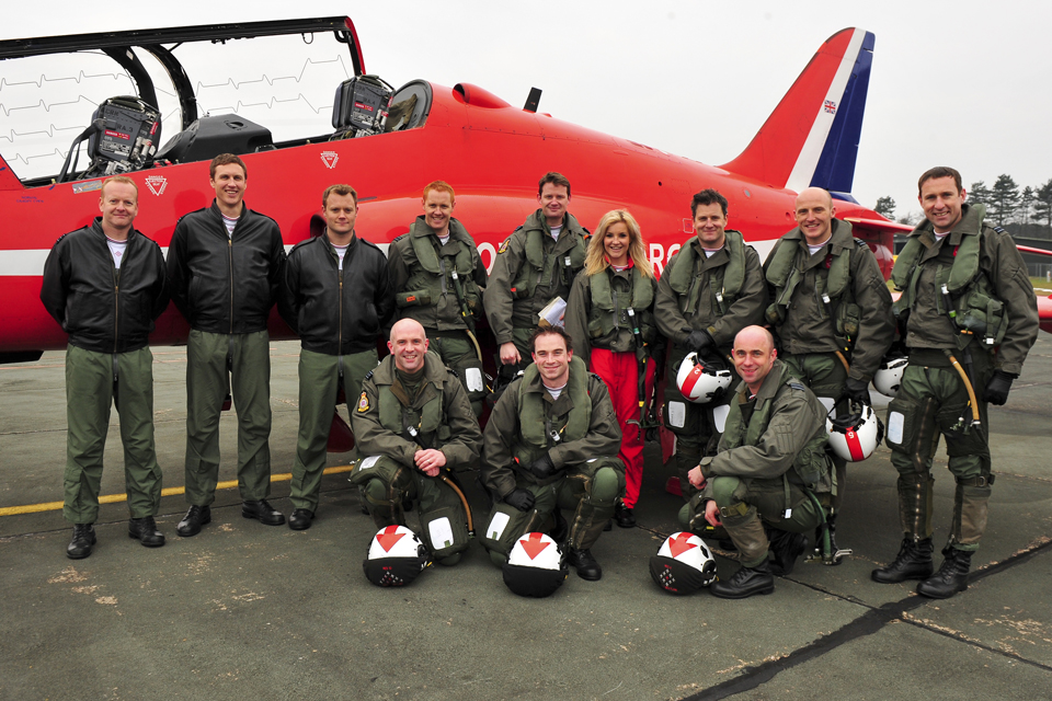 Helen Skelton with the pilots of the 2013 RAF Aerobatic Display Team