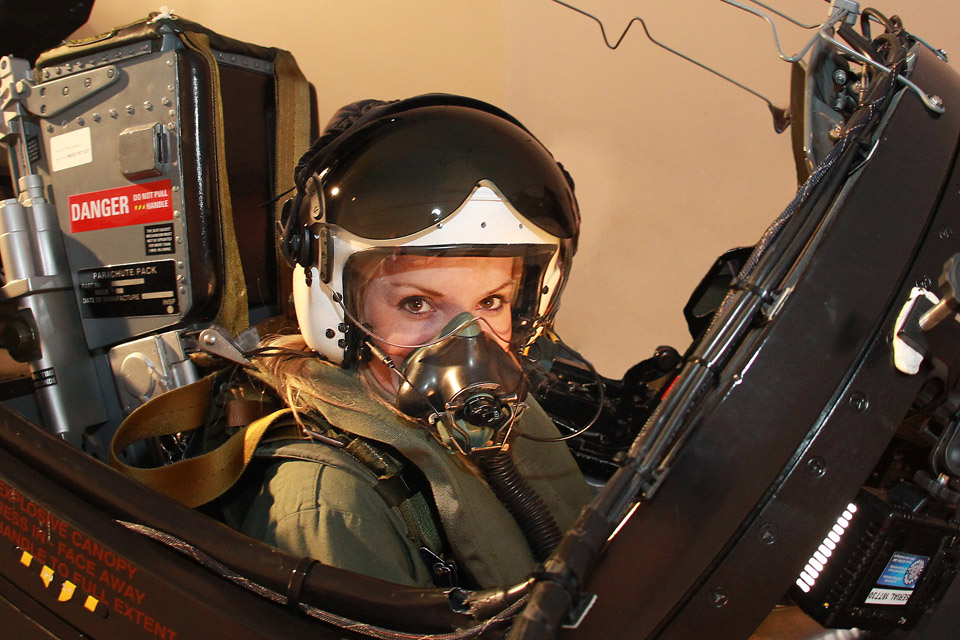 Helen Skelton in the cockpit of a Red Arrow Hawk jet