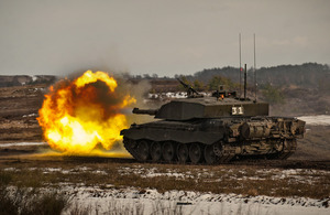 The Challenger 2 main battle tank being fired on Hohne Ranges in Germany [Picture: Corporal Ross Fernie RLC, Crown copyright]