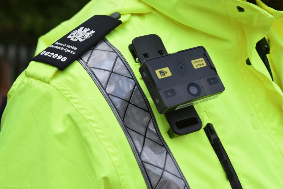 DVSA enforcement officer wearing a body warn camera