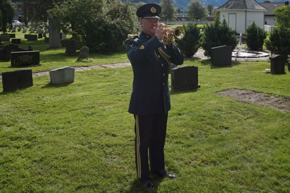 A bugler plays the Last Post during the rededication service for P/O Webb. Crown Copyright. All rights reserved