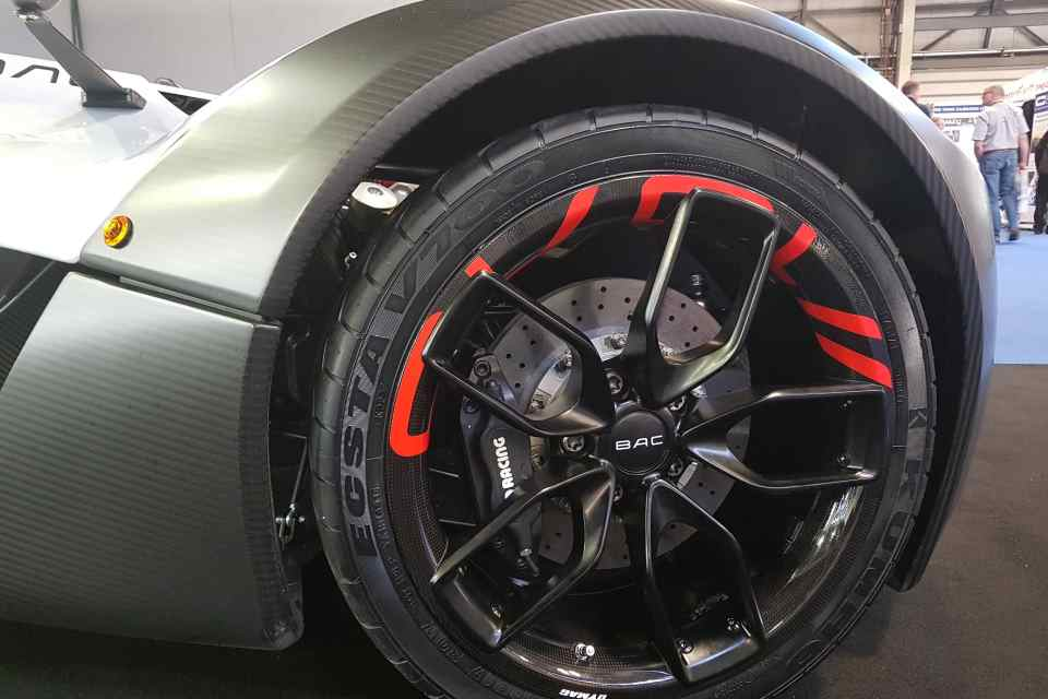 Close-up of BAC Mono wheel incorporating carbon-ceramic brake disc.