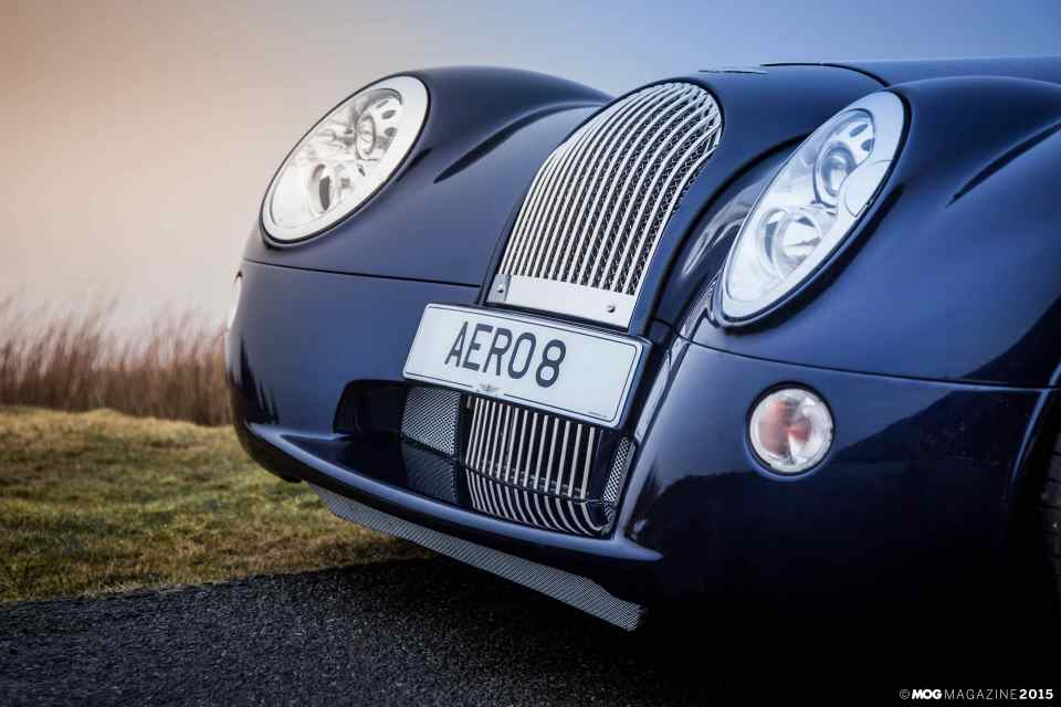 Close of the front cowl on a Morgan Aero 8