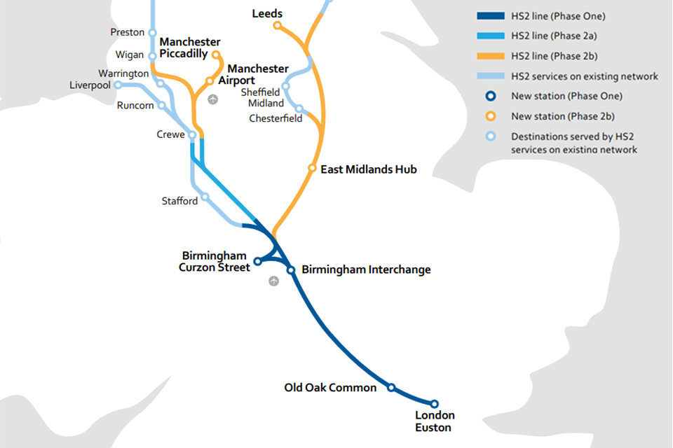 HS2 network map and key