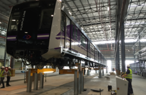 Purple line train carriage under construction