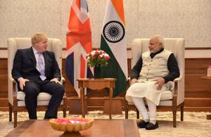 Foreign Secretary Boris Johnson with Indian Prime Minister Narendra Modi.