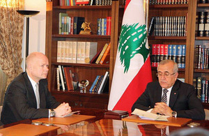 Foreign Secretary William Hague and the President of Lebanon, Michel Sleiman