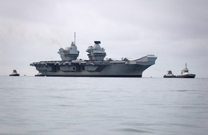 HMS Queen Elizabeth arrives in Portsmouth for the first time.