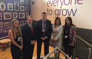 Picture of Rachel McAvoy, apprentice; John Hayes, Transport Minister; Adrian Jones, apprentice, Carol Hui, Chief of Staff, Heathrow Airport and Karima Khandker, Head of Heathrow Academy.