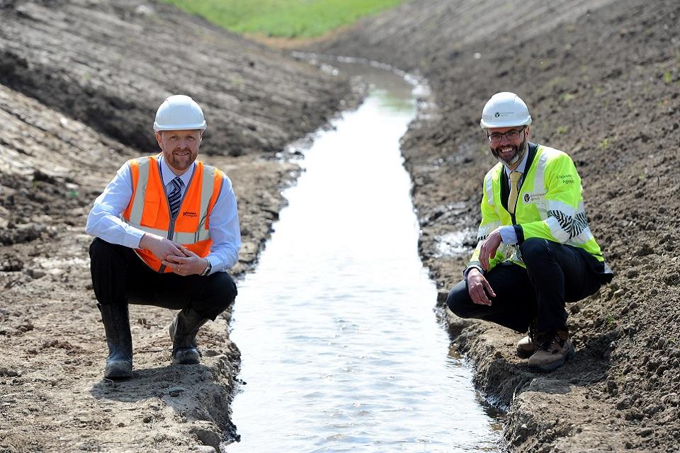 Image shows Brunton Park flood scheme, the new River Ouseburn Channel