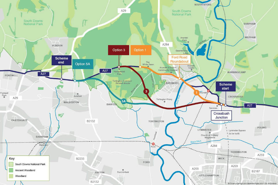 Options for upgrading the A27 at Arundel
