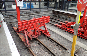 The damaged buffer stops at Kings Cross
