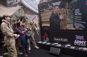 Last weekend's TA LIVE ads were shown on a giant screen at Westfield Shopping Centre in Stratford, east London [Picture: Sergeant Adrian Harlen, Crown copyright]