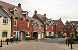 Row of new houses.