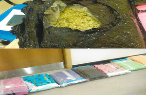 Smuggled drugs wrapped in towels