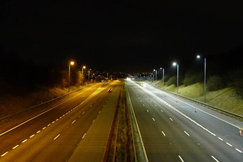 M62 J22-J25 LED upgrade Scheme - sodium compared to new LED lights