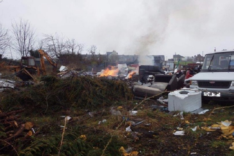 Images shows waste on site and evidence of burning