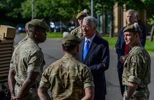 Defence Secretary, Sir Michael Fallon visited members of 2 SCOTS at their base in Glencores Barracks in Penicuik, near Edinburgh. Crown Copyright.