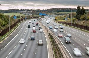 Wide shot of the UK's M25 motorway