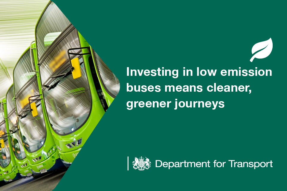 Investing in low emission buses means cleaner, greener journeys.