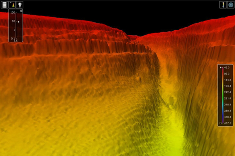 A 3D image of the Grand Canyon-style ocean floor beneath the Red Sea