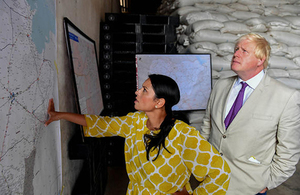 Boris Johnson and Priti Patel pictured at a WFP aid warehouse in Maiduguri, Nigeria, 30 August 2017. Picture: Andrew Parsons/i-Images